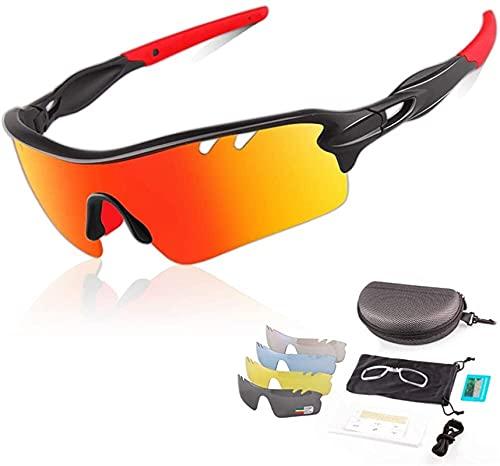 Gafas de sol polarizadas UV400, gafas deportivas, gafas de ciclismo anti-azul anti-UV con 5 lentes coloridas intercambiables para llevar la pesca de la pesca Trekking Skiing Vacation ( Color : Red )