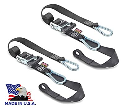 PowerTye 1.5in x 6.5ft Heavy-Duty Ratchet Tie-Downs, Made in USA with Soft-Tye and Carabiner Hooks, Black/Black (pair)