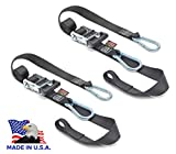 PowerTye 1.5in x 6.5ft Heavy-Duty Ratchet Tie-Downs, Made in USA with Soft-Tye and Carabiner Hooks, Orange/Black (pair)