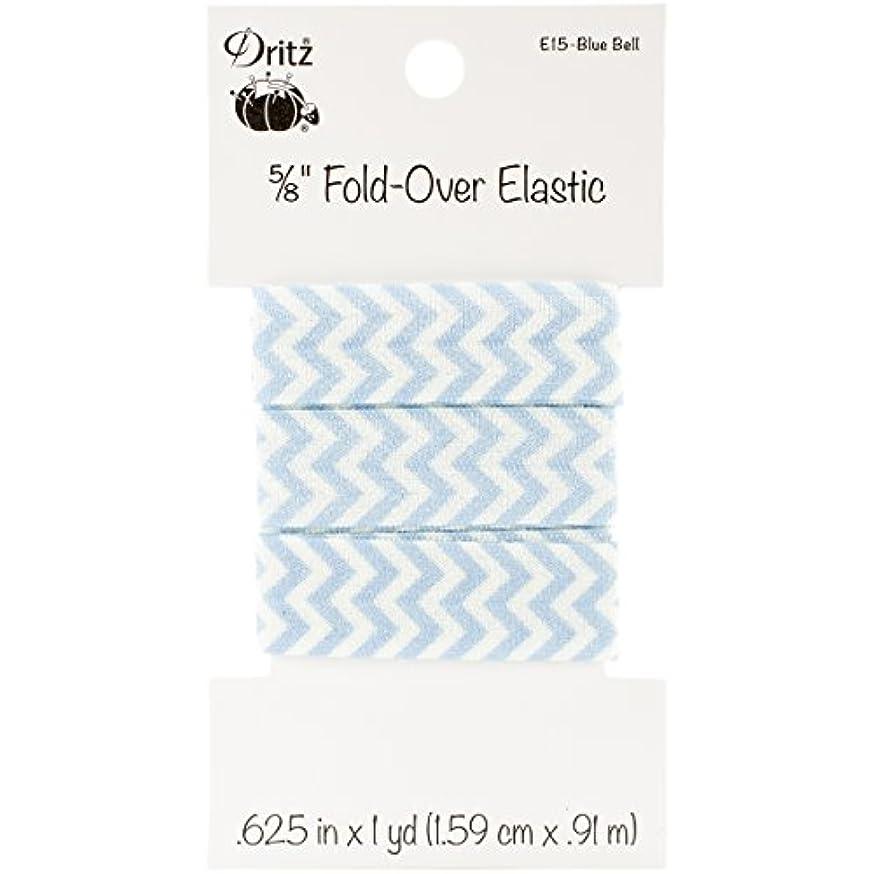 Dritz Chevron Fold-Over Elastic, 5/8 by 1 yd, Blue Bell