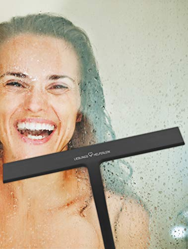 LIEBLINGS HELFERLEIN ® Hochwertiger Duschabzieher [28 cm] in schwarz aus Silikon zum einfachen Reinigen von Dusche, Fenster, Fliesen und glatten Oberflächen inkl. Silikon-Halterung zum Aufhängen