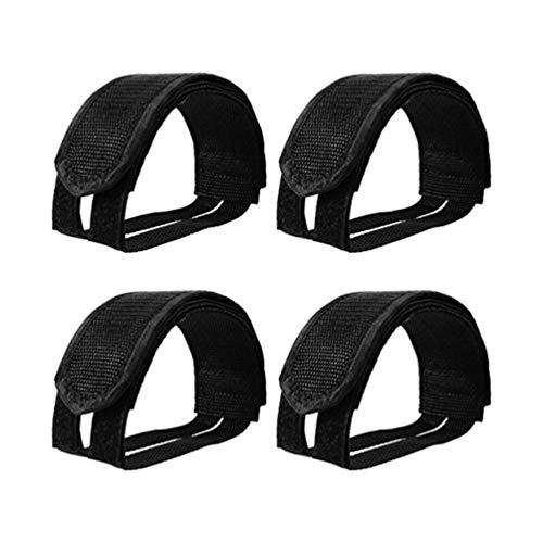 Clispeed 6 pezzi cinghie a pedale regolabili per bicicletta piedi pedale cinghie fermapiede cinghie cinturino per l'esercizio bici bicicletta ciclo casa o palestra (nero)