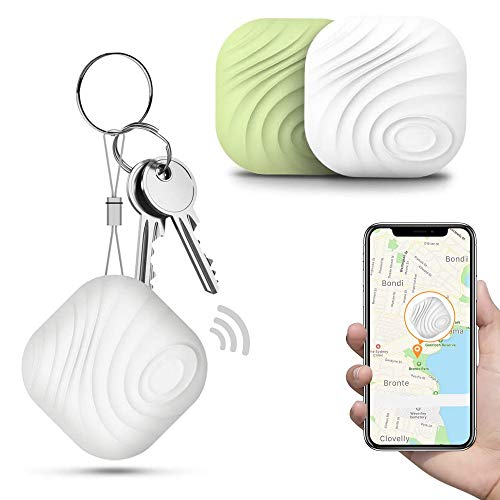 Key Finder Locator (Pack of 2), Smart Bluetooth Item Tracker & Finder Device for Wallet, Phone, Dogs, Cats - Anti-Lost Bidirectional Alarm Reminder - Replaceable Battery, White + Green