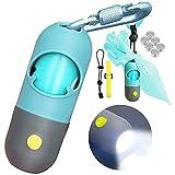 Dog Poop Bag Dispenser with Built-in LED Flashlight and Metal Clip for Leash, Pet Waste Bag Holder, Dog Walking Accessory, Crystal Blue