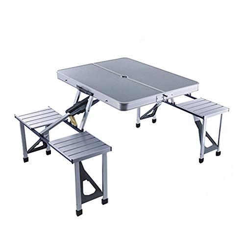 DX - Mesa de picnic plegable portátil, aluminio, mesa enrollable ligera, 4 taburetes, cocina, al aire libre, playa, jardín, camping, barbacoa, color gris