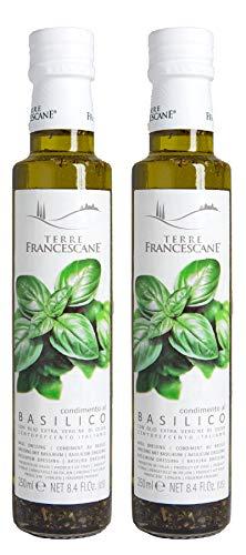 Terre Francescane - Basilikum-Öl - Extra Natives Olivenöl mit Basilikum (2er Pack / 2 x 250 ml)