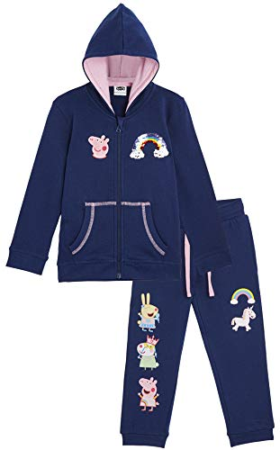 Peppa Pig Tracksuit Girls, Long Sleeve Hooded Top & Bottom Loungewear Set, Unicorn Design with Peppa Miss Rabbit and Suzy Sheep, 100% Cotton for Girls Age 12 Months to 7 Years (18/24 Months) Navy