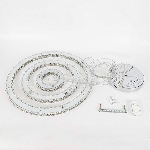 Berkalash 72W LED Kristall Hängelampe, 3-Ring dimmbare Decke Kristall Pendelleuchte, 2700K - 6500K Creative Lustres Light, für Esszimmer Wohnzimmer Schlafzimmer (mit Fernbedienung)