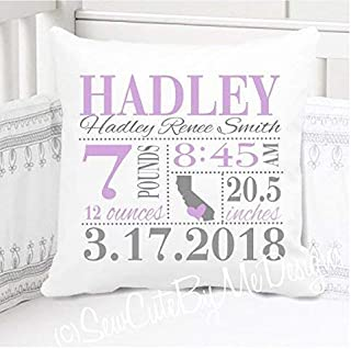 "Birth Announcement Pillow for Baby Girls Nursery with Birth City and State - Includes Personalized Pillowcase and Pillow Insert - Lavender and Grey 14"" x 14"" or 16"" x 16"""
