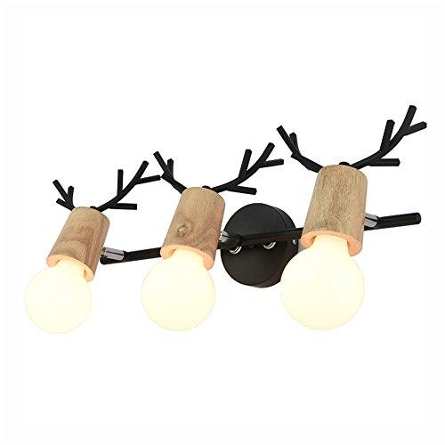 Nordeuropa Spiegel frontleuchte LED Kreative Dekoration Wandleuchte Bad WC Spiegel Schrank Licht Schminktisch Kommode Licht Woody Schwarz Drei Kopf Lampen (Ohne lichtquelle) (Farbe : B)