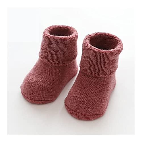 SXRUY Invierno cálido Grueso bebé Chicas niños Calcetines recién Nacidos Calcetines de bebé Terry Antideslizante Calcetines for bebé sólido bebé Ropa Accesorios Calcetines de Moda