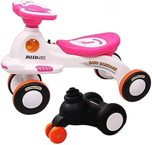 Kinder stumm drehen Auto 2-6 Jahre altes Baby-Roller-Schwingen-Auto mit Musik Yo Auto-austauschbares vorderes Rad, Blau   Rosa, 66  44cm ( Farbe   Rosa )