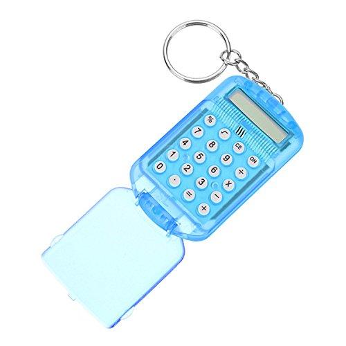 Werse Electronic Mini Calculator carcasa de plástico 8 dígitos con llavero - azul