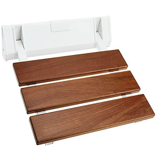 PrimeMatik - Asiento de Ducha abatible. Silla Plegable para Ancianos de Madera Tropical y Aluminio 320x328mm