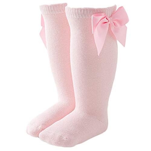 Sock-Baby - Calcetines altos hasta la rodilla, diseño de lazo, color sólido