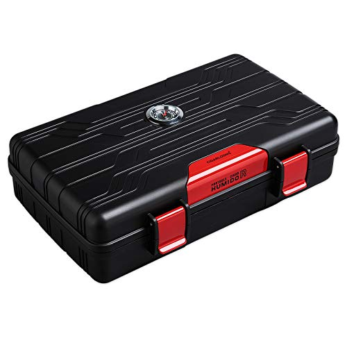 CIGARLOONG Cigar Humidor Travel Cigar Case Double Layer with Hygrometer and Humidifier(Color:Red)