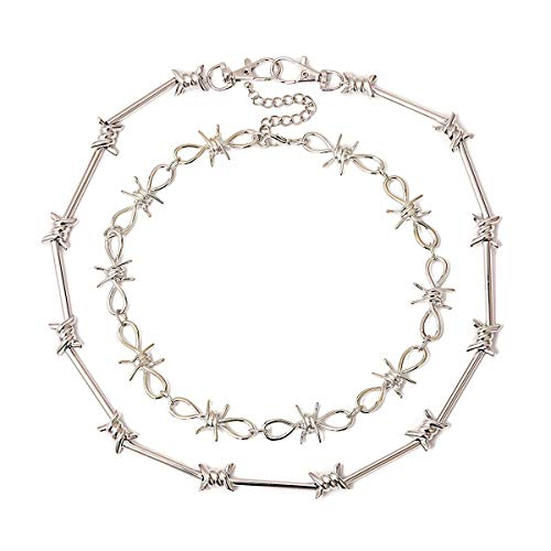 Ingemark 2 Pcs Punk Gothic Barbed Wire Necklace Unisex Chic Hand Saw Pendant Alloy Barb Thorns Chain Choker Set Women Men Grunge Long Chain Necklace E-boy Chains (Style 1 Silver)