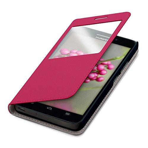 kwmobile Funda Compatible con Huawei Ascend G620s - Carcasa de Cuero sintético con Ventana - En Rosa Fucsia