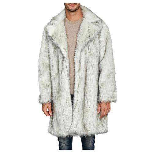 Dasongff bontmantel heren kunst bont jas grote maten bontjas imitatiebont jas met reverskraag mannen warm winterjas lang faux parka mantel cardigan Coat