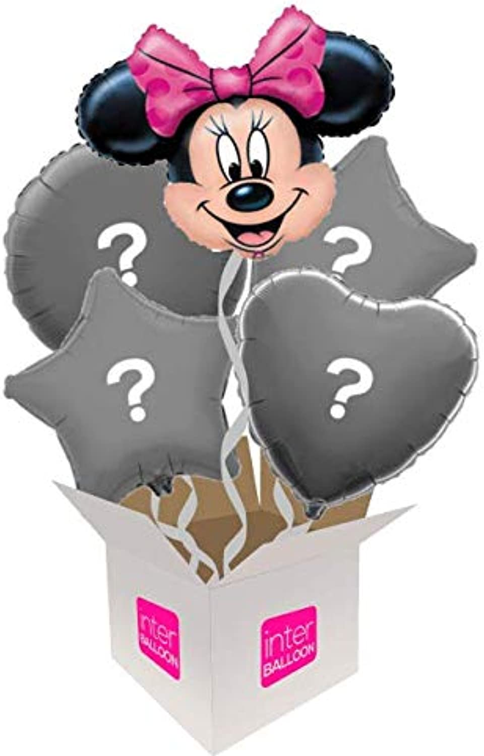 InterBalloon Helium Inflated 24  Minnie Mouse Head Balloon Delivered in a Box with 4 Extra Balloons of your choice