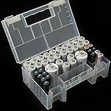 Wffo - Caja organizadora de batería (plástico Duro, con Tapa Transparente con bisagras)