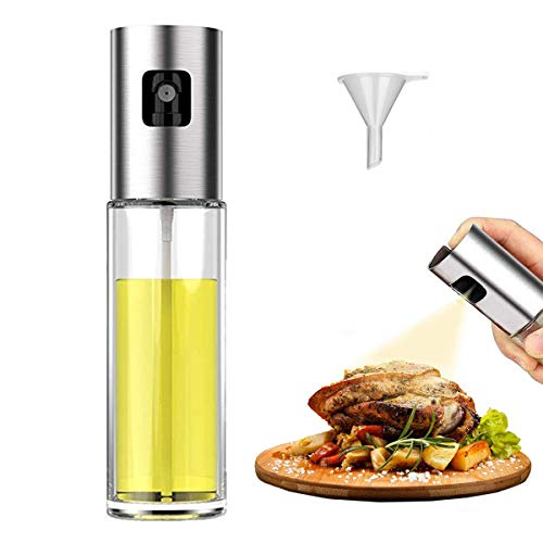 Olive Oil Sprayer Dispenser, Stainless Steel Oil Sprayer Mister with Glass Bottle(3.5 OZ or 100ml Capacity), Vinegar Bottle for Cooking,Baking,Roasting,Grilling,BBQ,Salad,Frying,Kitchen