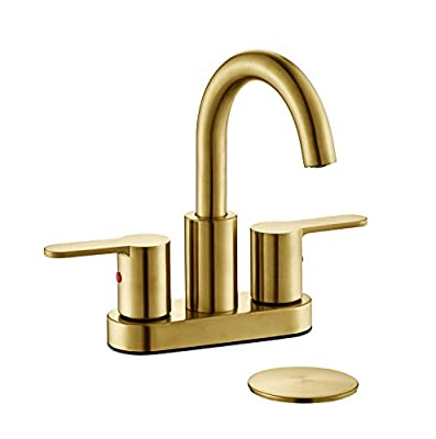 TimeArrow TAF067E-PB Two Handle Centerset Bathroom Sink Faucet With Drain Assembly, Brushed Gold