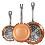 Le originali Chef Copper Plus! Set di 3 padelle con rivestimento in rame ultra resistente - 100% Senza PFOA – 18/22/26 cm Utilizzabili anche in Forno, su piano cottura a Gas e Induzione - 1093
