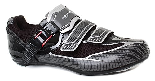Gavin Elite Road Cycling Shoe - 2 and 3 Bolt Cleat Compatible Black/Grey