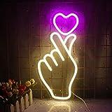 Letrero de neón con gesto de corazón, luz de neón de amor rosa, letreros de neón de pared decorativos con LED, para habitación de niñas, apartamento, fiesta del día de San Valentín, por USB