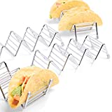 4 Pack Premium Taco Holder Stands,Stainless Steel Taco Holds Up To 3 or 4 Tacos Each as Rack,Oven Safe for Baking,Dishwasher and Grill Safe,Racks Hold Soft & Hard Shell Tacos,Easy To Fill Taco Rack