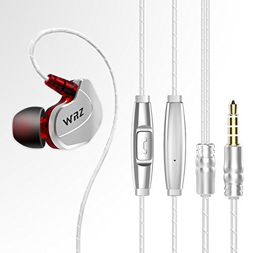 Juárez Acoustics JAW850 WRZ X6 in-Ear Wired Headphones Noise Isolating Earphones Heavy Bass with in-line Mic, Silver/Red