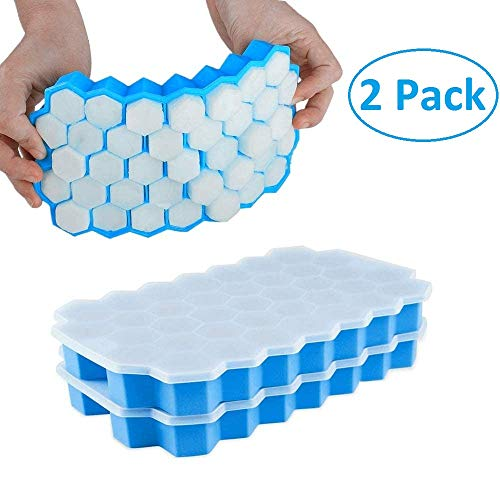 Ice Cube Trays, 2 Pack 74-Ice Silicone Ice Cube Molds Stackable Flexible and BPA Free with Lid for Chilled Drinks, Whiskey & Cocktails (Blue)