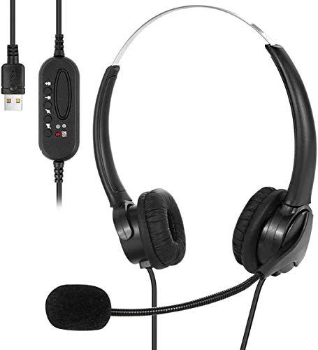 Auriculares USB con micrófono, auriculares USB con cable para PC, ultra ligeros y cómodos con cancelación de ruido y controles de audio para centro de llamadas, oficina, conferencias