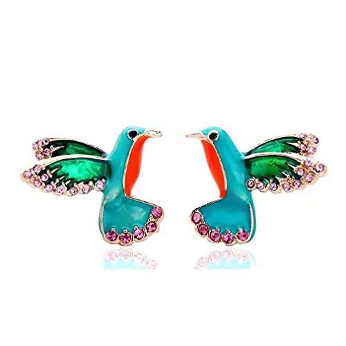 Ai.Moichien Pendientes De Botón Rhinestone Mujeres Pájaros Colorido Bohemio Elegante Joyería Vintage