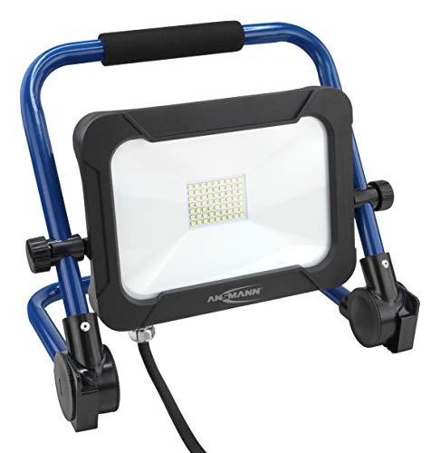 ANSMANN bouwlamp LED 30W – werklamp met kleurechte weergave CRI > 80, werklamp IP54 weerbestendig, voet met statief montagevoorziening