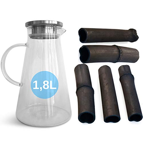 orinko Wasserkaraffe 1,8L + 5X Binchotan Aktivkohle WasserFilter aus Bambus