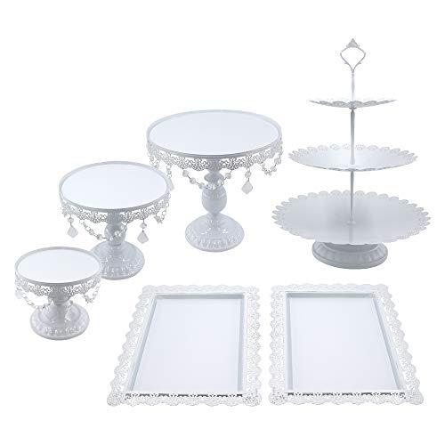Snowtaros - 6 soportes redondos para tartas de metal con perlas de cristal, 3 niveles, soporte para cupcakes, estilo vintage, para fiestas, bodas