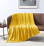 Love's cabin Flannel Fleece Blanket Throw Size Yellow Throw Blanket for Couch, Extra Soft Double Side Fuzzy Plush Fall Blanket, Fluffy Cozy Blanket for Adults Kids or Pet (Lightweight,Non Shedding)
