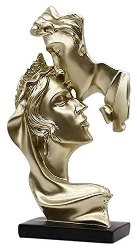 AINIYF Figura de Resina artesanía de la artesanía Decoración del hogar Oficina de la Oficina Escultura de Arte, Parejas Creativas Beso Escultura, Nordic Kiss Accesorios Amantes Estatua (Color : A)