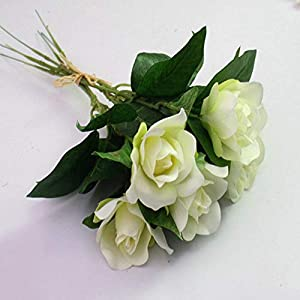Artificial and Dried Flower 6 Pcs/ Bunch Artificial Flowers Silk Wedding Decoration Floral Gardenia Party Artifical Wedding Decor Flower – ( Color: White )