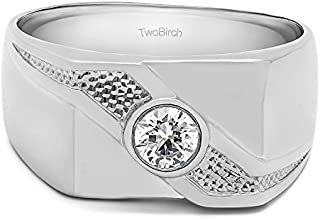 TwoBirch Sterling Silver Bezel Set Solitaire Men's Ring with Twisted Shank With Cubic Zirconia(0.3Ct. Size 9.25)