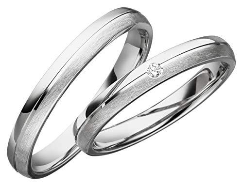 JC Trauringe 2 x Eheringe 925 Silber PAARPREIS inkl. Diamant und Gravur Ehe-ringe Verlobungs-ringe Brillant Heiraten Wedding Rings Partnerringe Platin Gold Weißgold S063