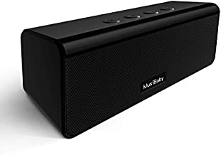 Bluetooth Speaker,MusiBaby M71 Speaker,Outdoor,Waterproof,Portable Wireless Bluetooth Speakers,Dual Pairing, Bluetooth 5.0,Loud Stereo,Booming Bass,24H Playtime for Home&Party(Black)
