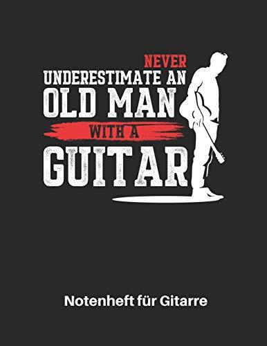 Notenheft für Gitarre: Akustik Gitarren Notenbuch 110 Seiten mit leeren Tabs und Akkord Feldern. Tolle Vatertag Geschenk Idee für Gitarristen, Gitarren Lehrer und Schüler.