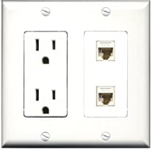 RiteAV - 15 Amp Power Outlet 2 Port Cat6 Ethernet White Decorative Wall Plate