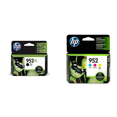 HP 952XL Black Ink Cartridge (F6U19AN) & 952 Cyan, Magenta & Yellow Ink Cartridges, 3 Cartridges (L0S49AN, L0S52AN, L0S55AN)