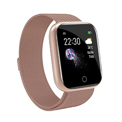EXEDSCEND Correa de Metal Smart Band, brazalets de Acero Inoxidable Impermeable Elegante Reloj de Negocios, Seguimiento de Fitness Monitor de Ritmo cardíaco para teléfonos Android e iOS,Oro