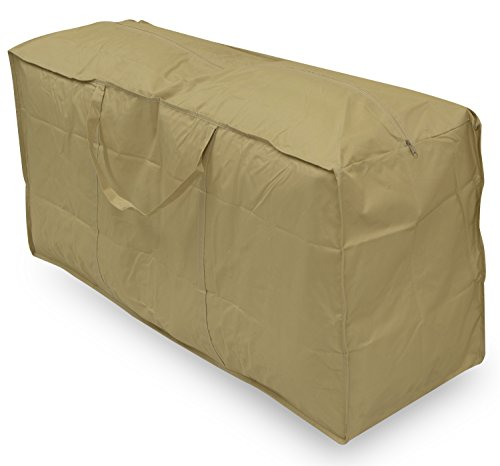 Woodside Water Resistant Outdoor Garden Furniture Cushion Storage Bag, Sand/Beige, Heavy Duty 600D Material, 5 YEAR GUARANTEE