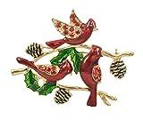 Gyn&Joy Holiday Christmas Xmas Hand Painted Red Bird Cardinal on Poinsettia Branch Rhinestone Brooch Pin